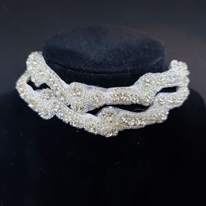 Crystal embroidered two row headband